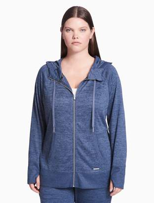 Calvin Klein plus size performance heathered zip hoodie