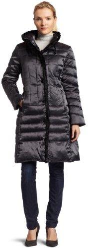 ABS by Allen Schwartz Womens Snap Front Down Jacket With Faux Fur Mink Trim