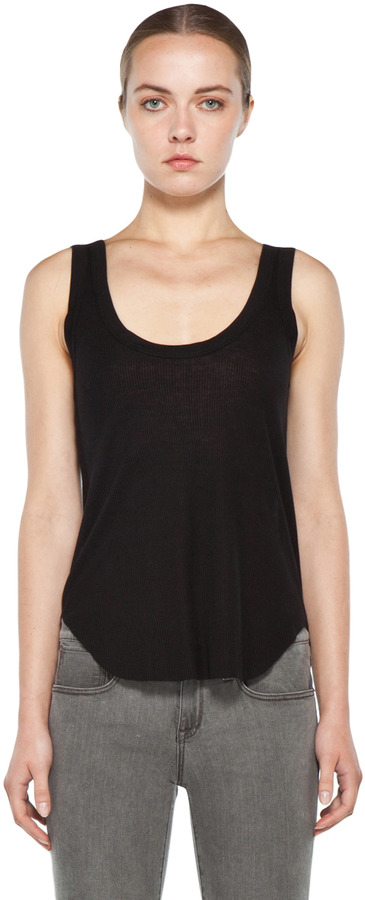 Enza Costa Rib Baseball Tank in Black