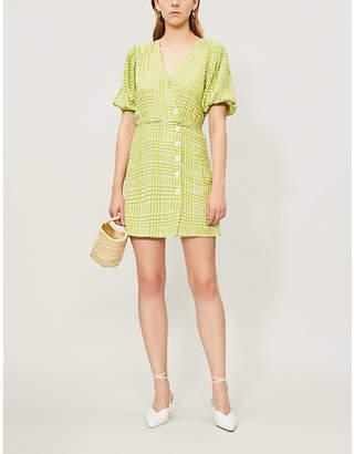Faithfull The Brand Blanco checked rayon mini dress