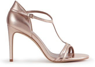 Reiss CONSTANCE T-BAR HEELED SANDALS Rose Gold