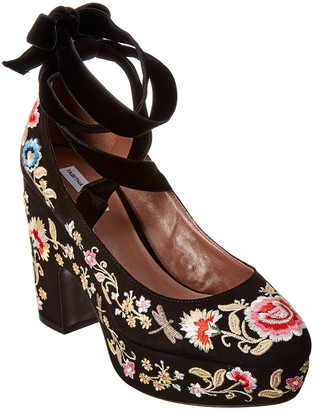 Tabitha Simmons Sky Flora Embroidered Suede Wedge Sandal
