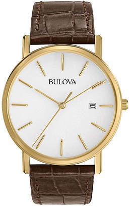 Bulova Mens Classic Brown Leather Strap Watch 97B100