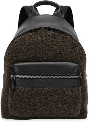 Salvatore Ferragamo Men's Leather-Trim Sherpa Backpack