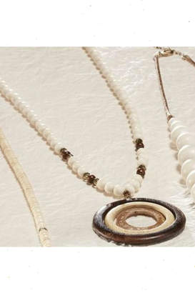 Paige Charlie Round-Pendant Wood Necklace