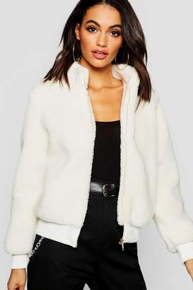 boohoo Teddy Faux Fur Crop Jacket
