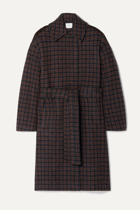 Vince Belted Checked Wool-blend Coat - Dark gray