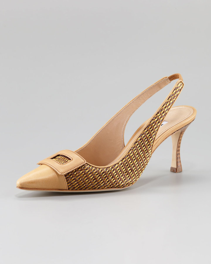 Manolo Blahnik Nestibuck Raffia & Leather Slingback Pump