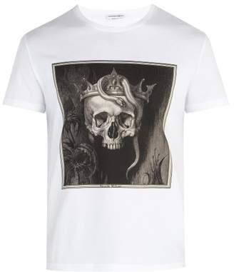 Alexander McQueen Skull Print Cotton Jersey T Shirt - Mens - White Multi