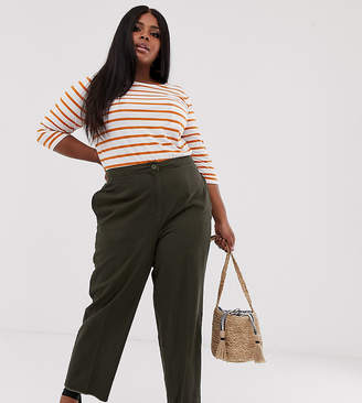 Asos DESIGN Curve casual pant with straight leg and raw hem
