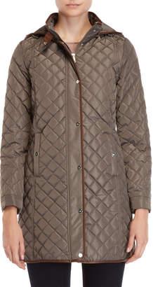 Lauren Ralph Lauren Quilted Faux Leather Trim Hooded Coat