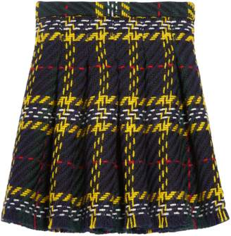 Oscar de la Renta Kids Big Plaid Tweed Box Pleat Skirt