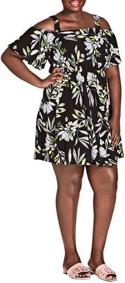 City Chic Maui Floral Cold Shoulder Dress