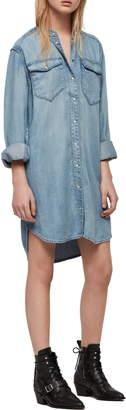 AllSaints Loe Snap Front Long Sleeve Shirtdress