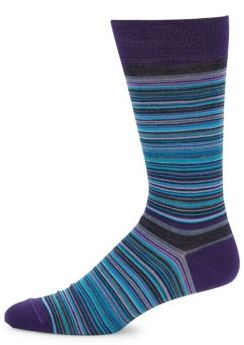 Striped Merino Wool-Blend Mid-Calf Socks $20 thestylecure.com
