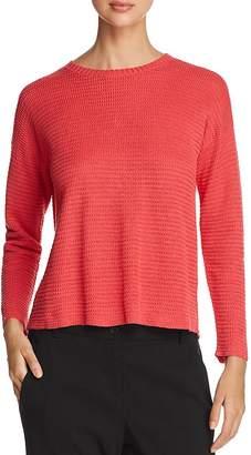 Eileen Fisher Waffle-Knit Split-Back Sweater