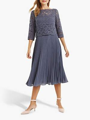 Oasis Lace Top Knife Pleat Midi Dress, Grey