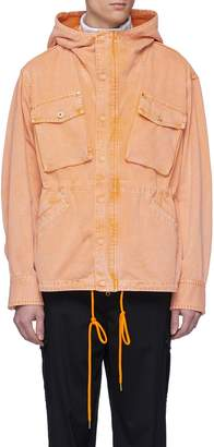 Feng Chen Wang Cargo pocket hooded denim jacket
