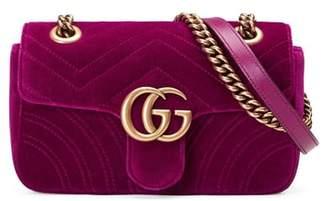 Gucci Small GG Marmont 2.0 Matelasse Velvet Shoulder Bag