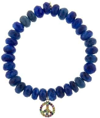 Sydney Evan Rainbow Peace Sign Charm On Blue Agate Beaded Bracelet
