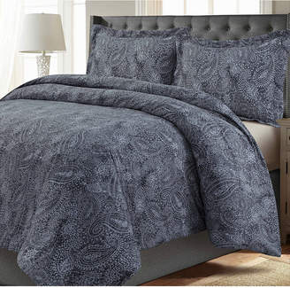 Tribeca Living Madrid Paisley Printed Oversized King Duvet Cover Set Bedding