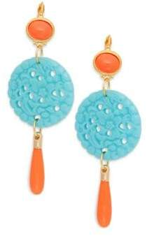Kenneth Jay Lane Carved Disc Drop Earrings