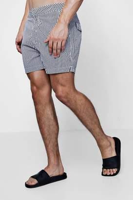 boohoo Navy Slim Stripe Swim Shorts