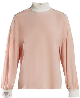 Fendi Ff Logo Cuff Silk Blouse - Womens - Light Pink