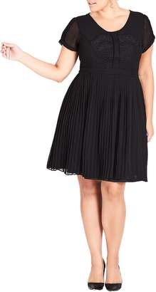City Chic Allure Pleated Fit and Flare Dress