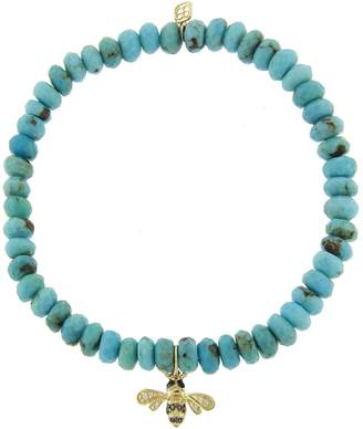 Sydney Evan Small Bee on Turquoise Beaded Bracelet