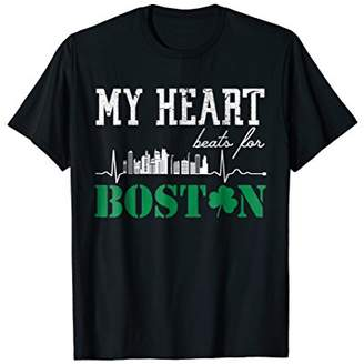 Boston Skyline Heartbeat T-Shirt Boston Lover Tee