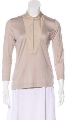 Akris Punto Long Sleeve Mock Neck Top
