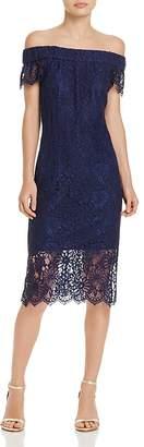 Nanette Lepore nanette Off-the-Shoulder Lace Midi Dress