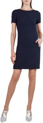 Akris Punto Short-Sleeve Cloque Shift Dress