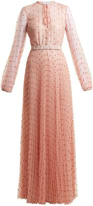 Luisa Beccaria Polka-dot-tulle long-sleeved gown