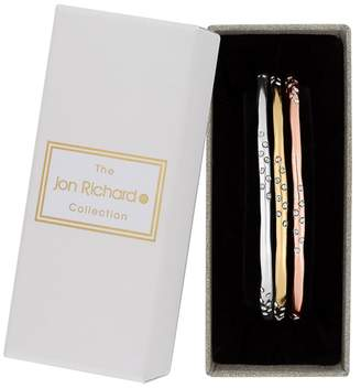 Jon Richard Gold And Silver Crystal Embellished Bangle Set In A Gift Box