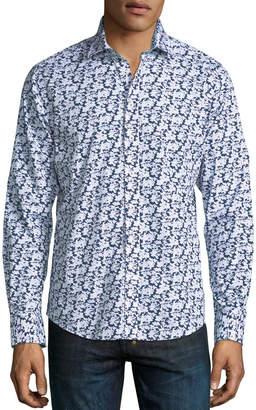 Neiman Marcus Large Floral-Print Sport Shirt