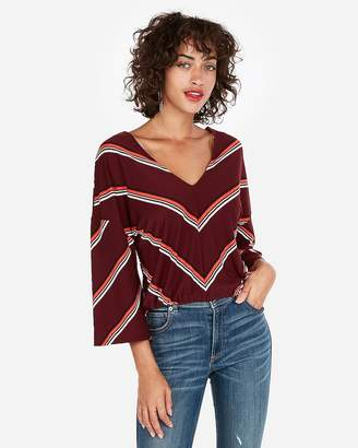 Express One Eleven Striped Flare Sleeve Top