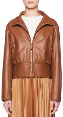 The Row Baxter Zip-Front Lambskin Leather Jacket