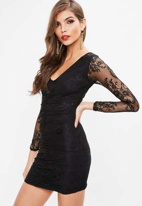 Missguided Petite Black Fine Lace Ruched Bodycon Dress
