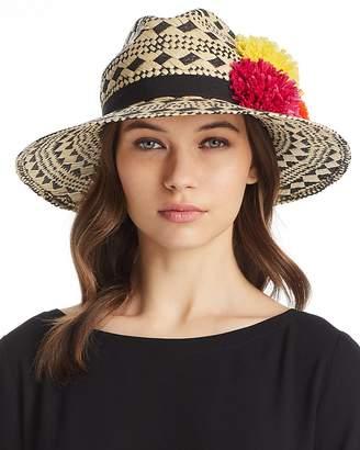Helene Berman Pom-Pom Trim Geometric Panama Hat
