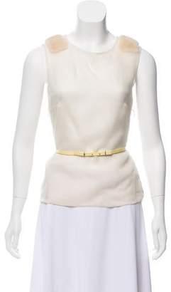 J. Mendel Fur Trim Silk Top