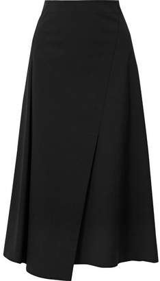 Theory Wrap-effect Cotton-blend Poplin Midi Skirt - Black
