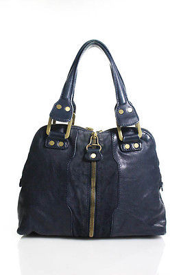Jimmy Choo Jimmy Choo Dark Blue Leather Gold Tone Zippers Hobo Shoulder Bag