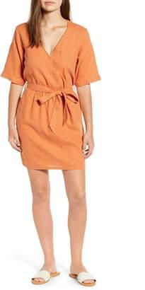 Caslon Linen Blend Faux Wrap Dress