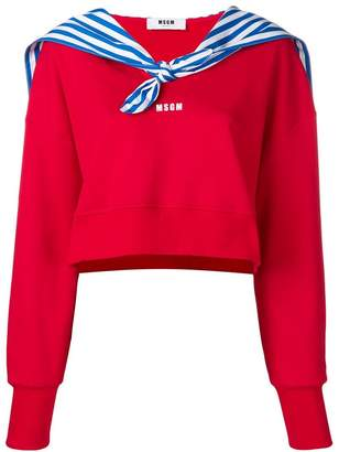 MSGM cropped sweatshirt with sailor's detail