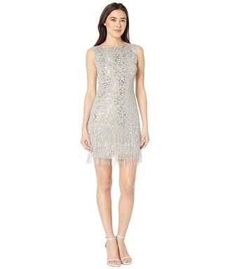 Adrianna Papell Petite Sleeveless Fringe Beaded Cocktail Dress