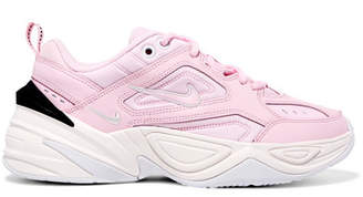 Nike M2k Tekno Leather And Neoprene Sneakers - Baby pink