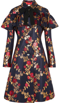 Crystal-embellished Metallic Floral-jacquard Coat - Midnight blue