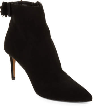 Betsey Johnson Black Haze Embellished-Bow Ankle Booties